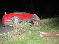 Mladá žena skončila s autem v oplocení. Podle svých slov se při jízdě vylekala.