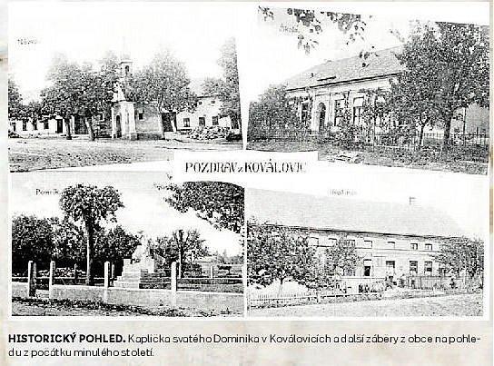 HISTORICKÝ POHLED. Kaplička svatého Dominika v Koválovicích a další záběry z obce na pohledu z počátku minulého století.