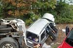Nehoda osobáku a dodávky na R46 u Želeče