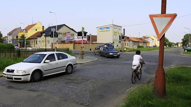Křižovatka - Olomoucká ulice s ulicí Sladkovského v Prostějově