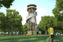 Vizualizace rozhledny na Kosíři. levnější varianta vyhlídky s dřevěnou konstrukcí