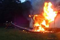 Požár zahradního domku v Domamyslicích.