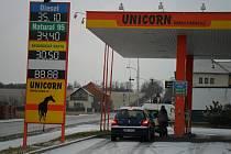 Čerpací stanice Unicorn v Olomoucké ulici v Držovicích - úterý 17.1.2012