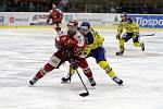 Prostějovští hokejisté (v červeném) prohráli v derby s Přerovem 1:2Dušan Žovinec (Prostějov)