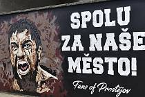 Hokejoví fanoušci z Prostějova vytvořili originální graffiti.