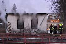 Požár domku v místního nádraží v Prostějově