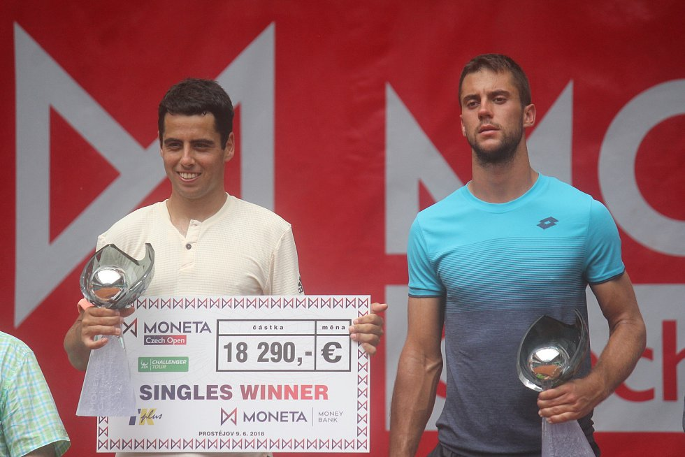 Finále Czech Open v Prostějově. (Jaume Munar a Laslo Djere)
