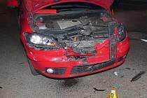 Následky nehody v Plumlovské ulici v Prostějově