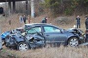 Srážka osobního automobilu s vlakem v Držovicích