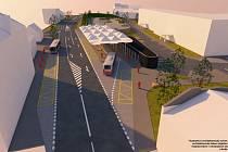 Vizualizace dopravního terminálu na Újezdě. Ilustrativní architektonické řešení, které se bude vdalších stupních přípravy projektové dokumentace měnit.