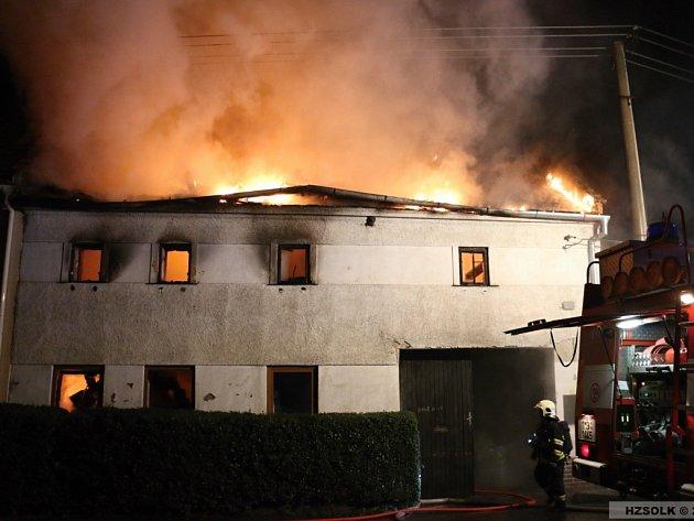 Požár domu v Dětkovicích