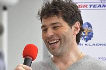 Jaromír Jágr na tiskové konferenci v Prostějově.