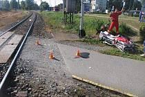 Nehoda motorkáře s vlakem v Prostějově