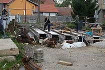 Stavba silničního mostu přes řeku Hloučelu v Mostkovicích na Prostějovsku - 7. 10. 2020