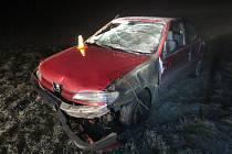 Havárie řidičky peugeotu ve Vřesovicích, 2.1. 2020