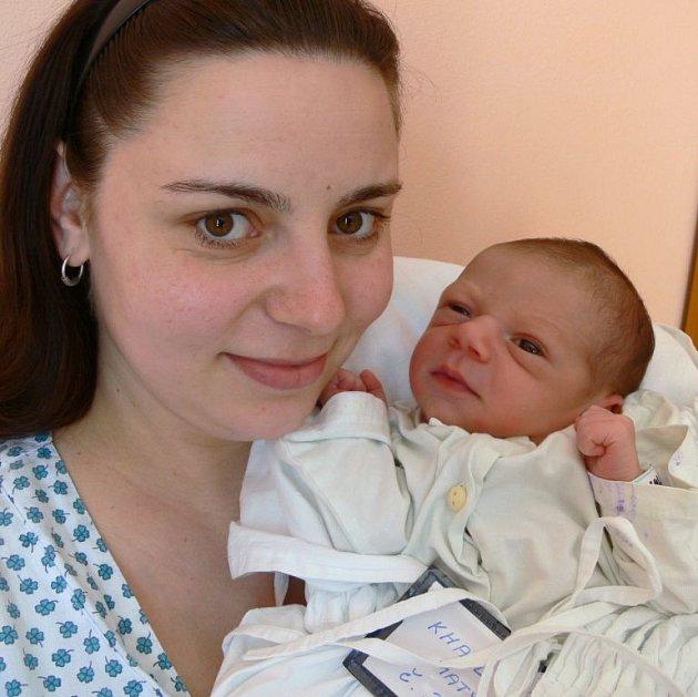 Matyáš Khail, Prostějov, narozen 17. března v Prostějově, míra 50 cm, váha 3150 g