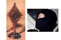 Ukradený relikviář (vlevo)