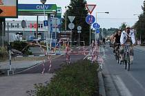 Poslední úsek cyklostezky v Olomoucké ulici