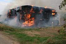 Požár stohu v Držovicích