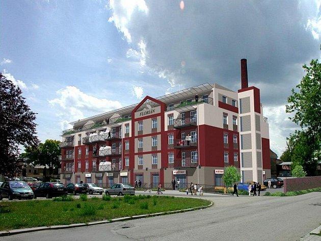 Vizualizace přestavby budovy bývalého pivovaru na polyfunkční dům