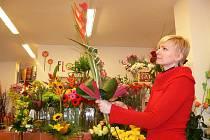 V květinářství na Valentýna