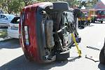 Dopravní nehoda při výjezdu z parkoviště na ulici Mlýnská v Prostějově.  27.8.2020