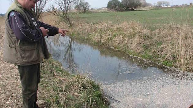Při výcviku svého psa zpozoroval Václav Otáhal v blízkosti bývalého vojenského letiště zapáchající skvrnu na hladině Malého potůčku.