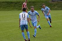 Fotbalisté Prostějova (v modro-bílém). Ilustrační foto