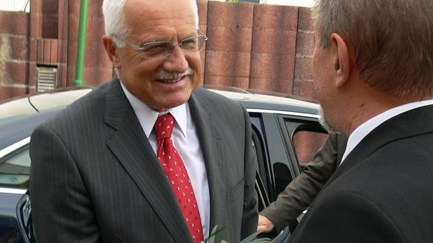 Prezident republiky se setkal i se starostou města Janem Tesařem.
