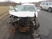 Nehoda renaultu na dálnici D 46