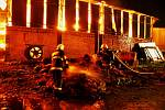 Požár haly v Brodku u Prostějova