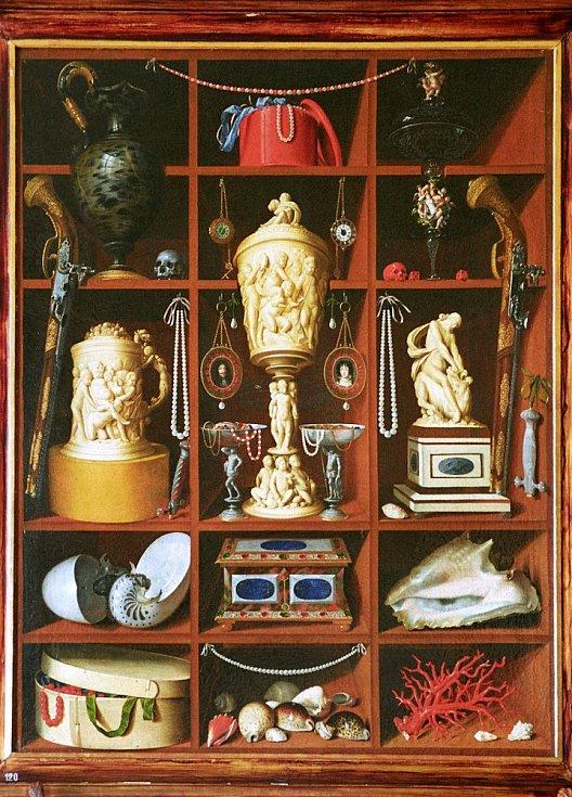 Georg Hinz - Regál se starožitnostmi (zámek Rychnov na Kněžnou, soukromá sbírka) – rok 1666, olej na plátně