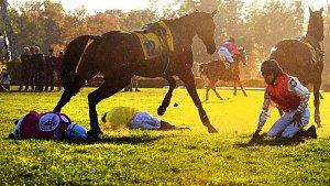 Kůň Vicody ze stáje z Hvozdu na Konicku se nešťastně zranil na nedělní Velké pardubické a musel být utracen. Na snímku je to kůň vlevo, kdy těsně po pádu na Velkém Taxisu zkouší uniknout z vřavy. Vlevo od něj leží jeho žokej Josef Bartoš