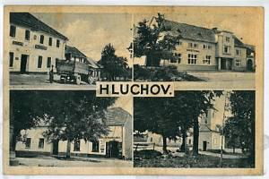 Pohlednice obce Hluchova z roku 1936
