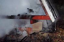 Požár chaty v Kladkách