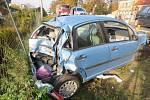 Srážka tří aut v Brněnské ulici v Prostějově