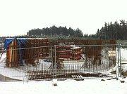 Stavba rozhledny na Kosíři v lednu 2013