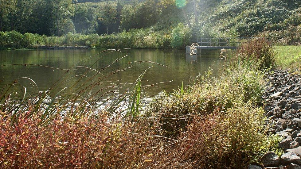 Malá vodní nádrž Jahodův žleb ve vojenském újezdu Březina