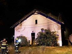 Požár drážního domku v Prostějově