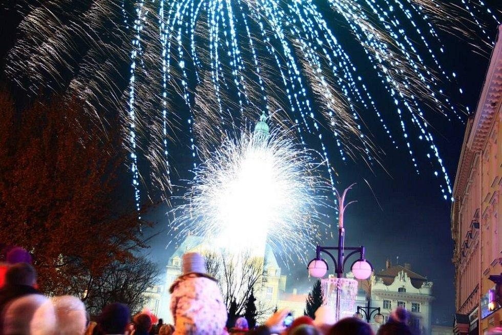 Silvestrovský ohňostroj v Prostějově