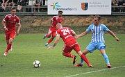Fotbalisté Prostějova (v modrém) porazili Brno 2:1