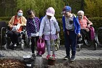 Za klienty Domova pro seniory v Soběsukách dorazily děti z Mateřské školy Prostějovičky. 10. května 2021