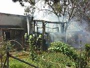 Požár kůlny v Kostelci na Hané