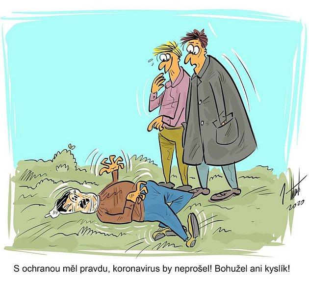 Kreslený vtip na 'koronavirové' téma od prostějovského humoristy Jana Tatarky