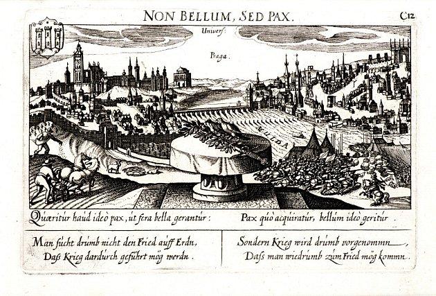 Eberhard Kieser (?) - Pohled na Prahu salegoriemi války a míru (soukromá sbírka) - rok 1638, mědiryt