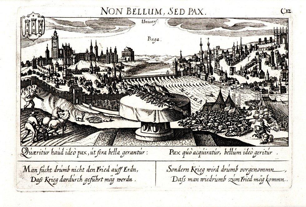 Eberhard Kieser (?) - Pohled na Prahu s alegoriemi války a míru (soukromá sbírka) - rok 1638, mědiryt