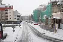 Čerstvý sníh na Vojáčkově náměstí v Prostějově 4. 1. 2019