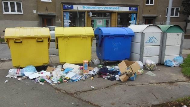 Odpad v prostějovské ulici.
