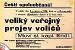 PLAKÁT. Pozvánka na shromáždění voličů v Zábřehu.