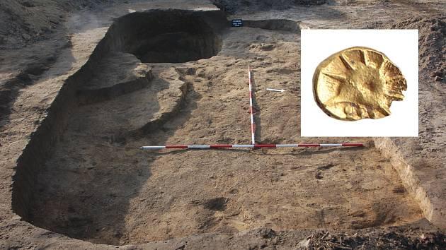 U Studence bylo archeology objeveno rozsáhlé keltské sídliště - zlatá mince